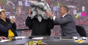 Corso with the backwards TCU headgear! Photo courtesy of Gameday Twitter