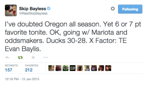 Skip Bayless' pick